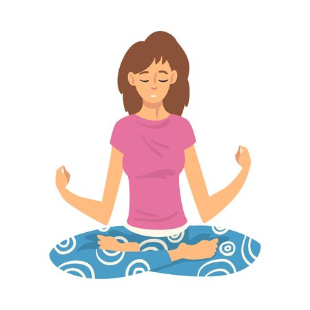 Woman safe the balance with meditation, relaxation cartoon vector illustration 向量圖像