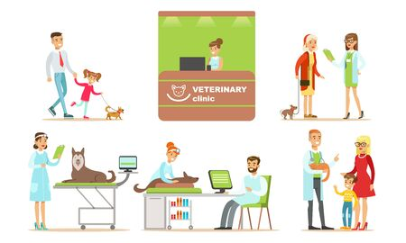 Kid and dad with little dog, reception of veterinary clinic, elderly woman with a dog talking to a veterinarian, women and doctor examines husky and brown dog, , doctor hold red cat and communicate with blond-haired woman and her son cat cartoon vector illustration Ilustrace