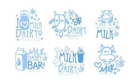 Natural Milk Dairy Products Set, Milk Bar Hand Drawn Labels Vector Illustration Ilustracja