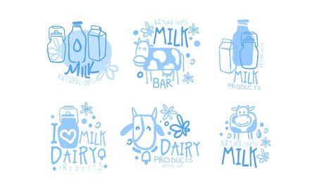 Natural Milk Dairy Products Set, I Love Milk Hand Drawn Labels Vector Illustration Ilustracja