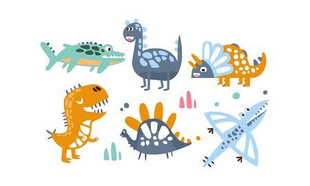 Cute Dinosaurs Set, Adorable Animals Colorful Childish Prints Vector Illustration on White Background. Illustration