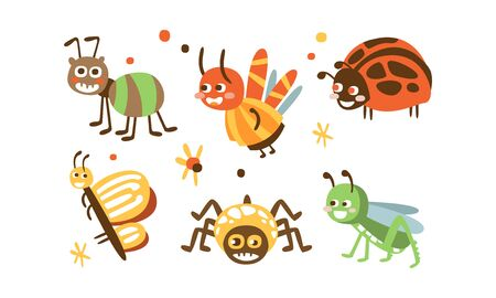 Cute Insects Set, Ladybug, Beetle, Ant, Spider, Butterfly, Grasshopper Childish Prints Vector Illustration  イラスト・ベクター素材