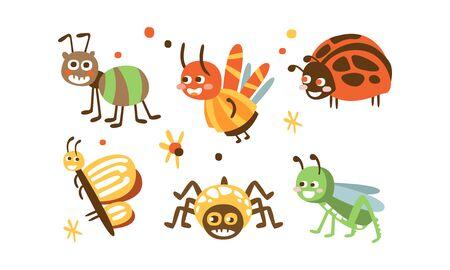Niedliche Insekten Set, Marienkäfer, Käfer, Ameise, Spinne, Schmetterling, Heuschrecke Kindliche Drucke Vektor Illustration Vektorgrafik