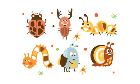 Cute Insects Set, Ladybug, Beetle, Deer, Caterpillar, Snail Childish Prints Vector Illustration on White Background. 向量圖像
