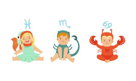 Cute Little Kids Wearing as Zodiac Signs Set, Pisces, Scorpio, Cancer Vector Illustration Illustration