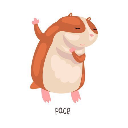 Pace English Language Preposition of Place and Cute Hamster Character, Educational Visual Material for Children Education Vector Illustration on White Background. 向量圖像