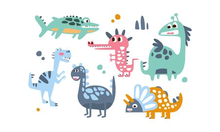 Cute Dinosaurs Set, Adorable Animals Childish Prints Vector Illustration on White Background.