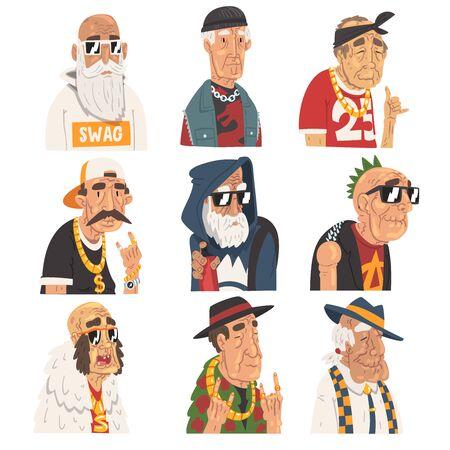 Conjunto de hombres mayores de moda, personajes de anciano con ropa de moda ilustración vectorial
