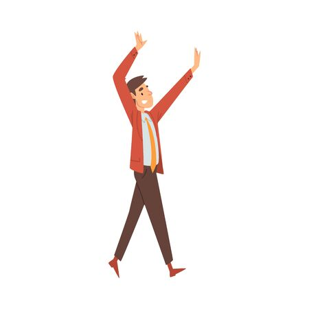 Man in red shoes and blazer, orange tie and brown pants joyfully goes and waves hands cartoon vector illustration on a white background