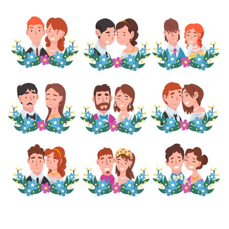Set of portraits of bride and groom standing behind a wreath. Blue and violet flowers in grass. Men with red, black and brown, curly and long hair, in blue, pink suits with ties and butterflies. Women with necklaces and earrings, headband and wreath cartoon vector illustration on the white background