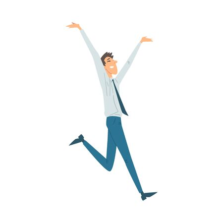 Man in office clothes joyfully runs, hands open and raises leg. Blue pants and tie and shirt cartoon vector illustration on a white background Ilustração
