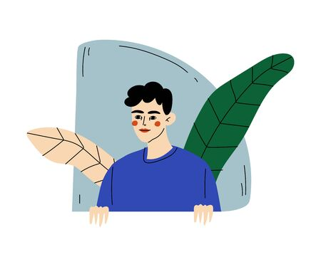 Curly guy in blue sweater looks out, and behind him leaves and geometric figure cartoon vector illustration on a white background