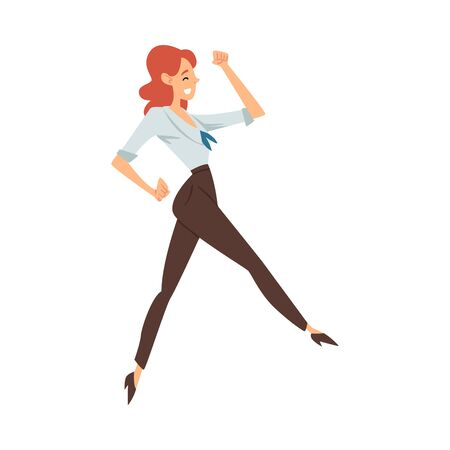 Red-haired woman in blouse and brown pants joyfully runs cartoon vector illustration on a white background