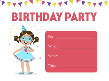 Pink birthday invitation with painted girl in blue, tinsel on top cartoon vector illustration on the white background