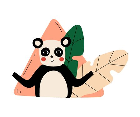 Panda spreads its arms against the background of a leaf and a pink triangle cartoon vector illustration Illustration