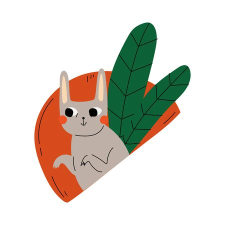 Cute hare holds paws on the background of a semicircle and leaves cartoon vector illustration on a white background