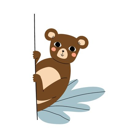 Cute brown bear with pink cheeks peeks around the corner with plants cartoon vector illustration on a white background Stok Fotoğraf - 132475387