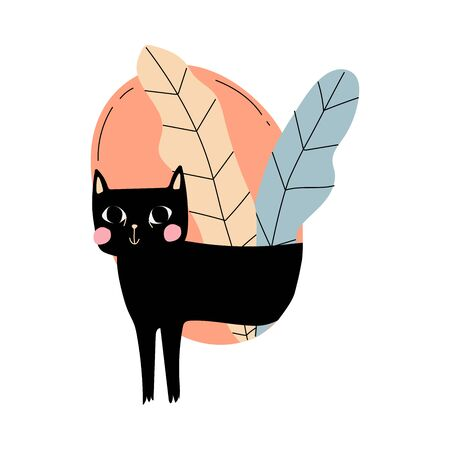 Black cat with pink cheeks comes out of the circle with leaves cartoon vector illustration on a white background