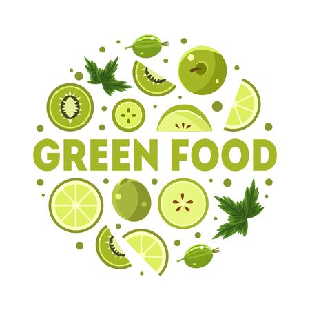 Green Food Banner Template with Fresh Fruits and Vegetables of Round Shape Vector Illustration