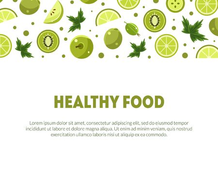 Healthy Food Banner Template with Space for Text and Fresh Green Fruits and Vegetables Vector Illustration 일러스트