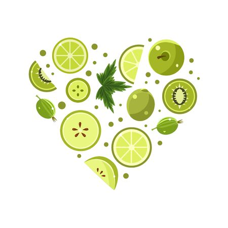 Green Fresh Fruits and Vegetables of Heart Shape Vector Illustration