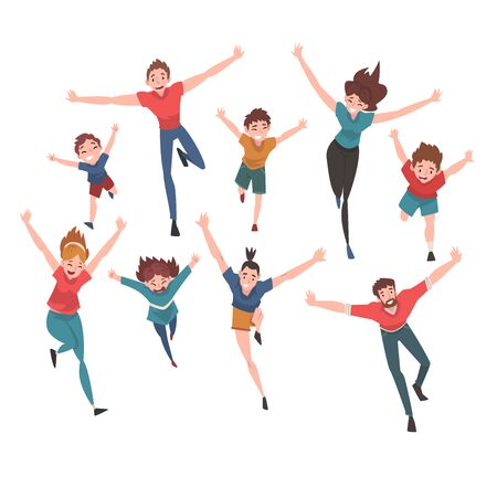 Smiling People Running with Arms Outstretched Set, Happy Positive Person Characters Vector Illustration Illusztráció