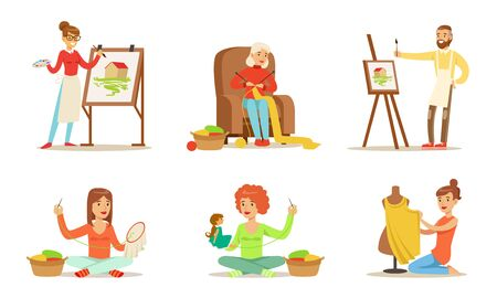 People of Creative Professions and Hobbies Set, Sewing, Embroidering, Knitting, Painting Vector Illustration
