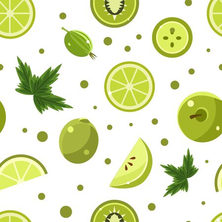 Green Food Seamless Pattern with Fresh Fruits and Vegetables, Healthy Products, Design Element Can Be Used for Wallpaper, Packaging, Background Vector Illustration Ilustracja