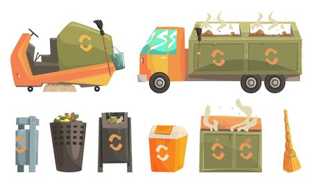 Carbage Truck and Bins with Decaying Waste, Ecology and Recycling Concept Vector Illustration Ilustração