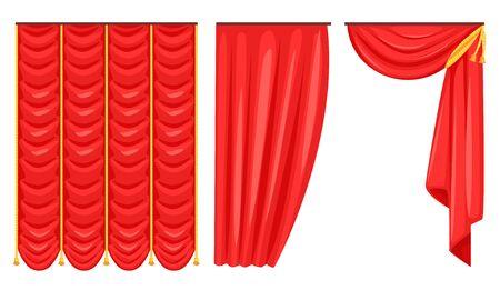 Ensemble de rideaux rouges, draperie d'intérieur de luxe, illustration vectorielle d'éléments de décoration sur fond blanc.