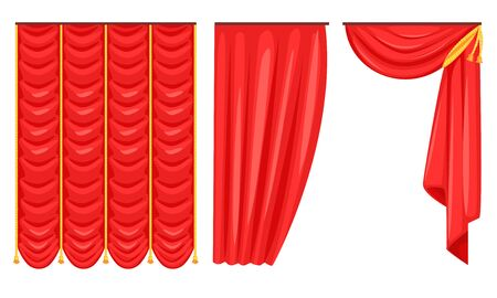 Red Curtains Set, Luxury Interior Drapery, Decoration Elements Vector Illustration on White Background.