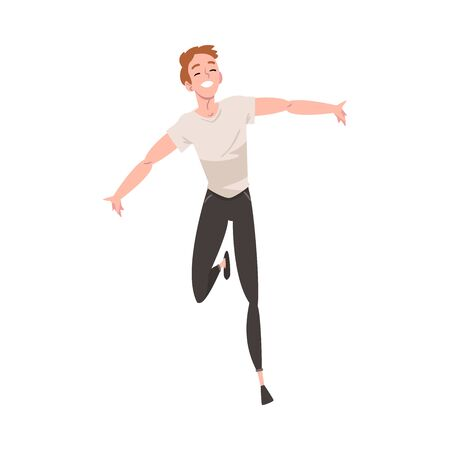 Smiling Young Man Running with Arms Outstretched, Happy Positive Person Character Rejoicing Vector Illustration on White Background. Ilustração