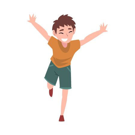 Smiling Boy Running with Arms Outstretched, Happy Rejoicing Teenage Boy Character Vector Illustration on White Background. Illusztráció