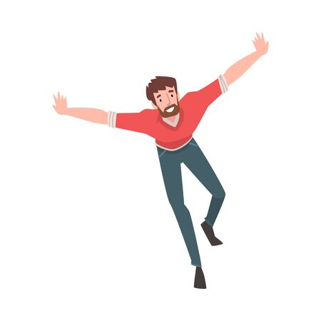 Smiling Bearded Man Running wwith Arms Outstretched, Happy Positive Person Character Vector Illustration on White Background.