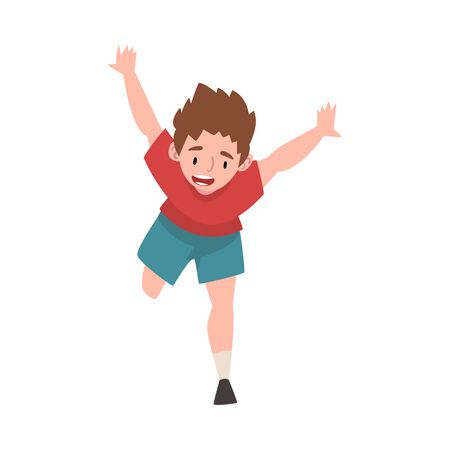 Smiling Happy Boy Running with Raising Hands Up, Rejoicing Positive Person Character Vector Illustration on White Background.