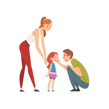 Loving Parents and their Little Daughter, Happy Family Relationship Vector Illustration on White Background.