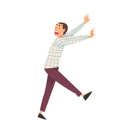 Scared Young Man Running with Fear Expression, Emotional Frightened Person Character Vector Illustration on White Background.