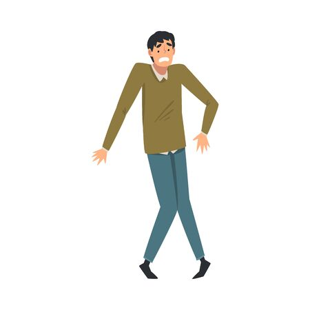 Scared and Panicked Young Man with Fear Expression, Emotional Frightened Person Character Vector Illustration