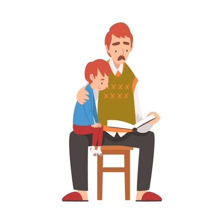 Father Reading a Book to his Son, Boy Sitting on Fathers Knees Vector Illustration on White Background. Illustration