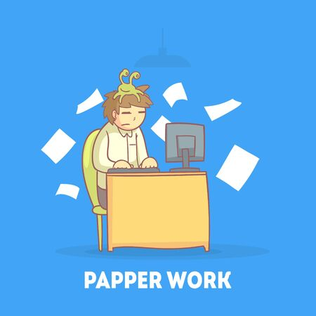 Procrastinating Office Worker Sitting at his Desk with Papers Flying Around Him, Procrastination and Laziness Vector Illustration in Cartoon Style.