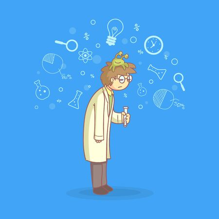 Apathetic Male Scientist Character with Lazy Monster on His Head Vector Illustration in Cartoon Style. Illustration