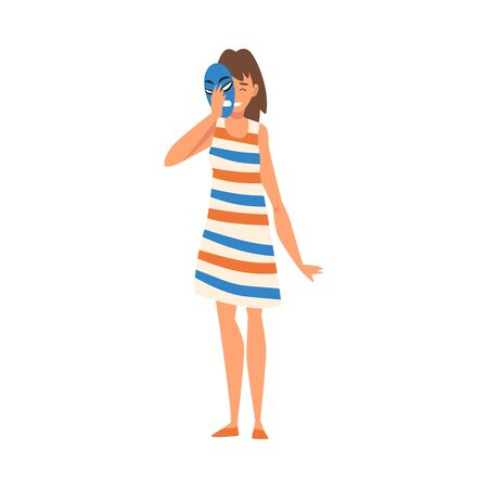 Woman Covering Her Face with Anger Mask, Girl Hiding Her Natural Personality or Individuality to Conform to Social Requirements Vector Illustration on White Background. Illustration