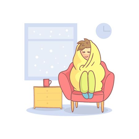 Lazy Apathetic Young Man Wrapped in a Blanket Sitting in Armchair Vector Illustration in Cartoon Style.