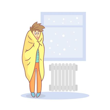Lazy Apathetic Young Man Wrapped in a Blanket Standing Next to Heating Radiator Vector Illustration in Cartoon Style.