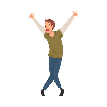 Scared Man with His Hands Raised and Mouth Open, Emotional Frightened Person Character Afraid of Something Vector Illustration on White Background. Illustration