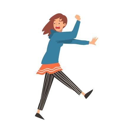 Scared Young Woman Running with Fear Expression, Emotional Frightened Girl Character Vector Illustration on White Background. Illustration