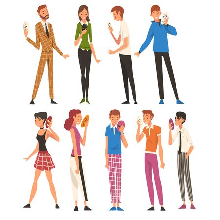 People with Face Masks Set, Men and Women Changing Their Personality or Individuality to Conform to Social Requirements Vector Illustration on White Background. Illustration