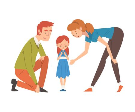Parents Comforting Their Daughter, Mother and Father Caring for Child, Happy Family Relationship Vector Illustration on White Background.