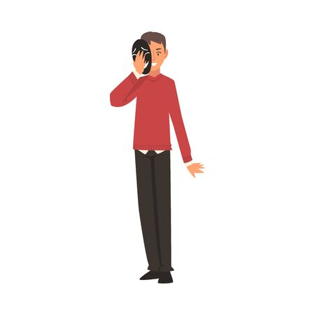 Young Man Covering His Face with Mask, Man Hiding His Natural Personality or Individuality to Conform to Social Requirements Vector Illustration on White Background.