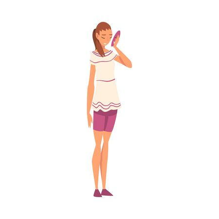 Woman Holding Face Mask, Girl Changing and Hiding Her Emotions Vector Illustration on White Background.